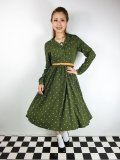 ☆Lindy Bop☆Perrie Moss Green Polka Long Sleeved Dress 13号