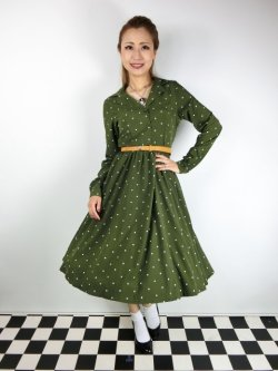 画像1: ☆Lindy Bop☆Perrie Moss Green Polka Long Sleeved Dress 17号