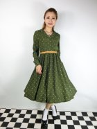 他の写真1: ☆Lindy Bop☆Perrie Moss Green Polka Long Sleeved Dress 17号