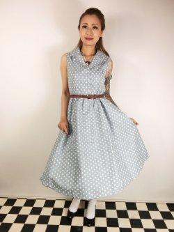 画像2: ☆Lindy Bop☆Matilda Powder Blue Polka Dot Shirt Dress 13号