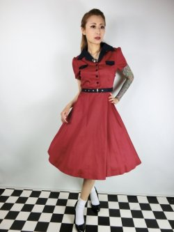画像1: ☆Lindy Bop☆Lilith Red Navy Tea Dress 13号