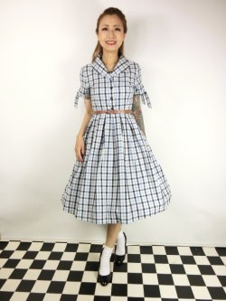 画像2: ☆Lindy Bop☆Claudine Blue Check Swing Dress 13号