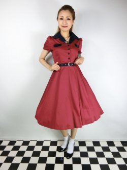 画像2: ☆Lindy Bop☆Lilith Red Navy Tea Dress 13号