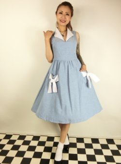 画像1: ☆Lindy Bop☆Joanne Powder Blue Chambray Swing Dress 15号