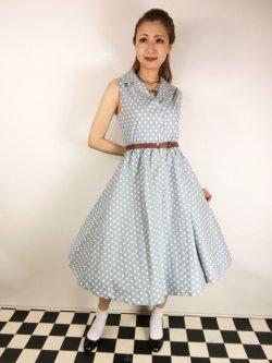 画像1: ☆Lindy Bop☆Matilda Powder Blue Polka Dot Shirt Dress 13号