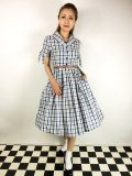 ☆Lindy Bop☆Claudine Blue Check Swing Dress 13号