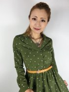 他の写真2: ☆Lindy Bop☆Perrie Moss Green Polka Long Sleeved Dress 17号