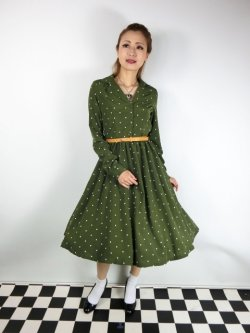 画像2: ☆Lindy Bop☆Perrie Moss Green Polka Long Sleeved Dress 17号
