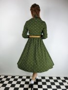 他の写真3: ☆Lindy Bop☆Perrie Moss Green Polka Long Sleeved Dress 17号