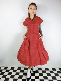 画像2: ☆Collectif Vintage☆DINAH CHECK SWING DRESS Red 15号