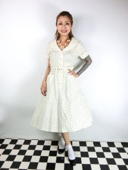 画像2: ☆Collectif Vintage☆ BRETTE POLKA DOT SWING DRESS Cream 13号