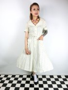 他の写真1: ☆Collectif Vintage☆ BRETTE POLKA DOT SWING DRESS Cream 13号