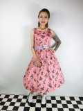 ☆Lindy Bop☆Delta Blush Budgerigars Print Swing Dress 13号