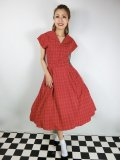 ☆Collectif Vintage☆DINAH CHECK SWING DRESS Red 13号