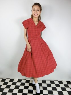 画像1: ☆Collectif Vintage☆DINAH CHECK SWING DRESS Red 17号