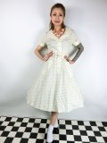 ☆Collectif Vintage☆ BRETTE POLKA DOT SWING DRESS Cream 17号