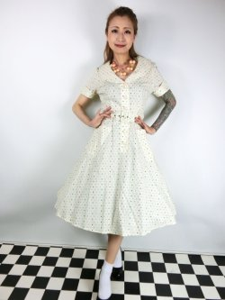 画像1: ☆Collectif Vintage☆ BRETTE POLKA DOT SWING DRESS Cream 9号