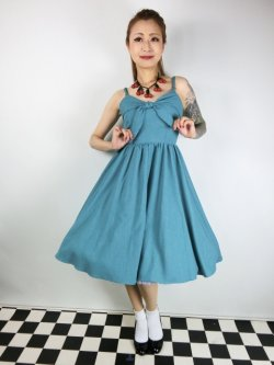 画像2: ☆Lucky13☆THE LUCILLE SWING DRESS-JADE(L)13号