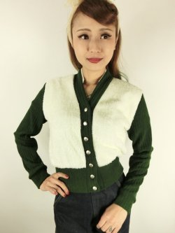 画像1: ☆Freddies of Pinewood☆1940s Cardigan Green (XL) 15号