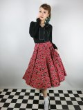 ☆HELL BUNNY☆Black Cherry 50s Skirt(M)15号