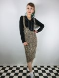 ☆Collectif☆ KAREN LEOPARD DUNGAREE SKIRT 15号