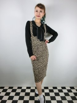 画像1: ☆Collectif☆ KAREN LEOPARD DUNGAREE SKIRT 15号