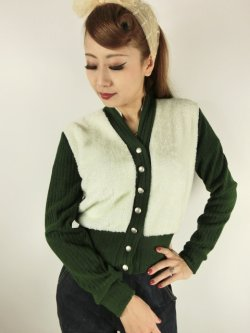 画像2: ☆Freddies of Pinewood☆1940s Cardigan Green (XL) 15号