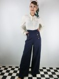 ☆Lindy Bop☆Adonia Classic Vintage Inspired Sailor Pants Navy 9号