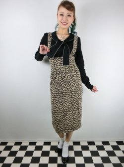 画像2: ☆Collectif☆ KAREN LEOPARD DUNGAREE SKIRT 15号