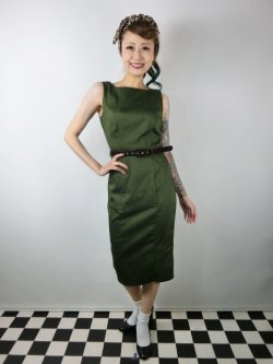 画像2: ☆Collectif☆HEPBURN VINTAGE PENCIL DRESS Green 9号