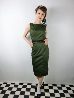画像1: ☆Collectif☆HEPBURN VINTAGE PENCIL DRESS Green 11号