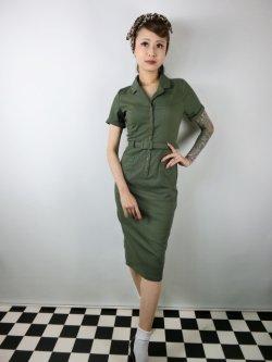 画像1: ☆Collectif☆CATERINA VINTAGE PENCIL DRESS Olive Green 7号