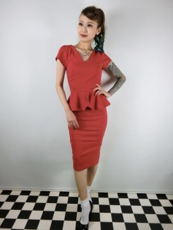 画像2: ☆Collectif Vintage☆MAVEN PLAIN PENCIL DRESS Red 13号