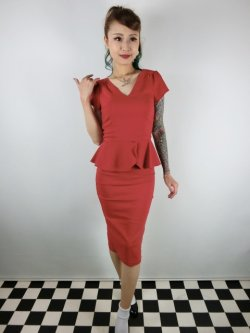 画像1: ☆Collectif Vintage☆MAVEN PLAIN PENCIL DRESS Red 13号