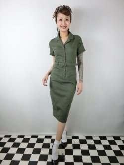 画像2: ☆Collectif☆CATERINA VINTAGE PENCIL DRESS Olive Green 7号