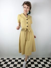 ☆Collectif☆HATTIE 40S FLARED DRESS Mustard 17号