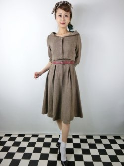 画像1: ☆Lindy Bop☆Aggi Mink Tweed Swing Dress & Jacket Set 13号