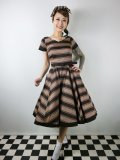 ☆Collectif Vintage☆SAFFRON BEETLE STRIPE SWING DRESS 9号