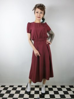 画像1: ☆Collectif ☆LAVENDER PLAIN DRESS Burgundy 9号