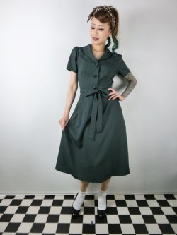 画像2: ☆Collectif☆HATTIE 40S FLARED DRESS Green 7号