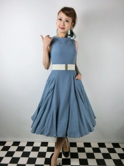 画像1: ☆Collectif ☆TARA PLAIN DRESS Blue 7号