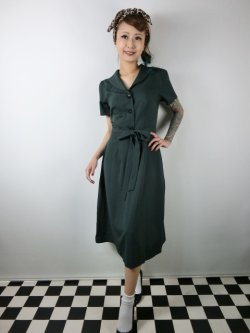 画像1: ☆Collectif☆HATTIE 40S FLARED DRESS Green 7号