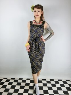 画像1: ☆Collectif☆TESS HATCH CHECK PENCIL DRESS Navy 17号