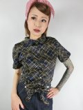 ☆Collectif☆ SAMMY HATCH CHECK TIE BLOUSE Navy 15号