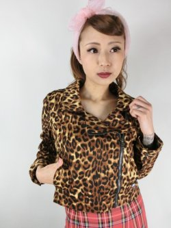画像1: SOURPUSS ☆MOTO JACKET LEOPARD(M)11号