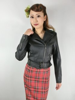 画像1: ☆H&R☆Ebony Lady Faux Leather Jacket Black 15号