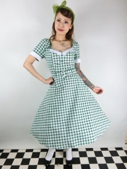 画像2: ☆Collectif☆ROBERTA GINGHAM SWING DRESS Green 15号