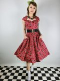 ☆HELL BUNNY☆Black Cherry 50s Dress(XS)9号