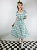 ☆Collectif☆ROBERTA GINGHAM SWING DRESS Green 15号