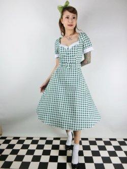 画像1: ☆Collectif☆ROBERTA GINGHAM SWING DRESS Green 7号